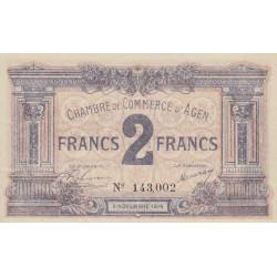 Agen - Pirot 2-5b - 2 francs - 05/11/1914 - Etat : SPL