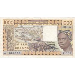 Côte d'Ivoire - Pick 107Ae - 1'000 francs - Série T.009 - 1984 - Etat : TB+
