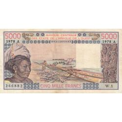 Côte d'Ivoire - Pick 108Ab - 5'000 francs - Série W.1 (billet de remplacement) - 1978 - Etat : TB