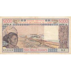 Côte d'Ivoire - Pick 108Ac - 5'000 francs - Série N.2 - 1979 - Etat : TB