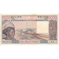 Côte d'Ivoire - Pick 108Ah - 5'000 francs - Série L.3 - 1981 - Etat : TB+