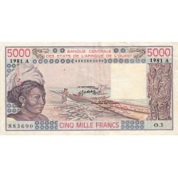Côte d'Ivoire - Pick 108Ah - 5'000 francs - 1981 - Etat : TTB