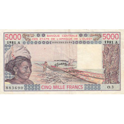 Côte d'Ivoire - Pick 108Ah - 5'000 francs - Série O.3 - 1981 - Etat : TTB