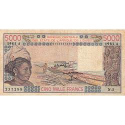 Côte d'Ivoire - Pick 108Ak - 5'000 francs - Série N.5 - 1983 - Etat : TB-