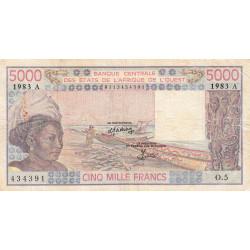 Côte d'Ivoire - Pick 108Ak - 5'000 francs - Série O.5 - 1983 - Etat : TB-