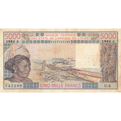 Côte d'Ivoire - Pick 108Am - 5'000 francs - 1984 - Etat : TB-