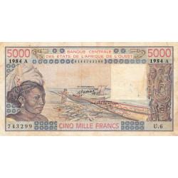 Côte d'Ivoire - Pick 108Am - 5'000 francs - Série U.6 - 1984 - Etat : TB-