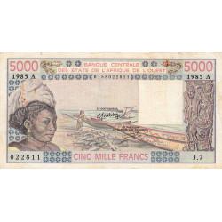 Côte d'Ivoire - Pick 108An - 5'000 francs - Série J.7 - 1985 - Etat : TB-