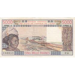 Côte d'Ivoire - Pick 108Ao - 5'000 francs - Série P.8 - 1986 - Etat : TB+