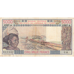 Côte d'Ivoire - Pick 108Ap - 5'000 francs - 1987 - Etat : TB-