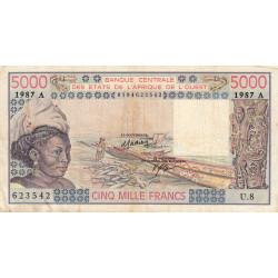 Côte d'Ivoire - Pick 108Ap - 5'000 francs - Série U.8 - 1987 - Etat : TB-