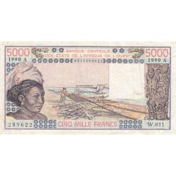 Côte d'Ivoire - Pick 108Aq - 5'000 francs - Série W.011 (billet de remplacement) - 1990 - Etat : TB