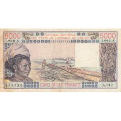 Côte d'Ivoire - Pick 108Aq - 5'000 francs - Série A.012 - 1990 - Etat : TB-