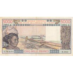 Côte d'Ivoire - Pick 108Ar - 5'000 francs - Série N.012 - 1991 - Etat : TB-