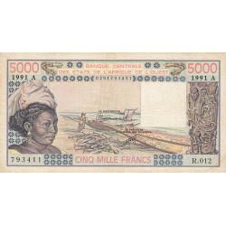 Côte d'Ivoire - Pick 108Ar - 5'000 francs - Série R.012 - 1991 - Etat : TB
