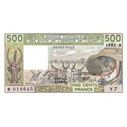 Bénin - Pick 206Bc-1 - 500 francs - Série Y.7 - 1981 - Erreur numéro - Etat : pr.NEUF