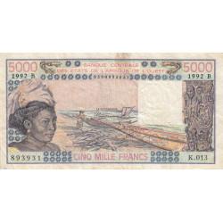 Bénin - Pick 208Bn - 5'000 francs - Série K.013 - 1992 - Etat : TB