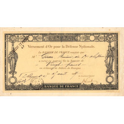 Trésor et Poste - Versement d'or pour la Défense Nationale - 1917