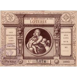 1885 - Marseille - Loterie - Société de Saint-Vincent-de-Paul - Etat : SUP
