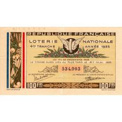 1935 - Loterie Nationale - 4e tranche - Etat : TTB+
