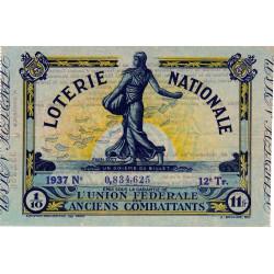 1937 - Loterie Nationale - 12e tranche - 1/10ème - Etat : SUP