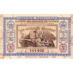 1941 - Loterie Nationale - 3e tranche - 1/10ème - Gueules cassées - Etat : SUP