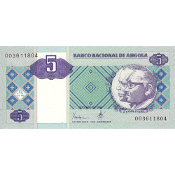 Angola - Pick 144a - 5 kwanzas - 10/1999 - Etat : SUP