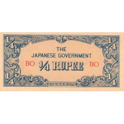 Birmanie - Pick 12a - 1/4 rupee - Série BO - 1942 - Etat : SUP+
