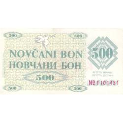 Bosnie Herzegovine - Pick 7g - 500 dinara - 11/05/1992 - Etat : SUP