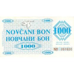 Bosnie Herzegovine - Pick 8g - 1'000 dinara - 11/05/1992 - Etat : SPL