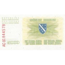Bosnie Herzegovine - Pick 16a - 5'000 dinara - 05/01/1993 - Etat : NEUF