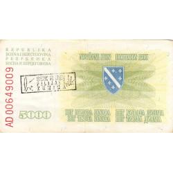 Bosnie Herzegovine - Pick 16b - 5'000 dinara - 05/01/1993 - Etat : TTB
