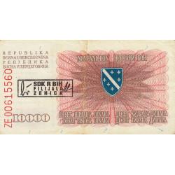 Bosnie Herzegovine - Pick 17b - 10'000 dinara - 05/01/1993 - Etat : TTB