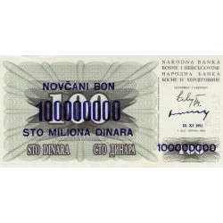Bosnie Herzegovine - Pick 37a - 100'000'000 dinara sur 100 dinara - 1993 - Etat : NEUF