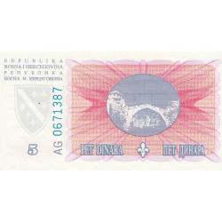 Bosnie Herzegovine - Pick 40 - 5 dinara - 15/08/1994 - Etat : NEUF