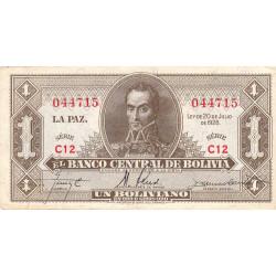 Bolivie - Pick 128a8 - 1 boliviano - Loi 1928 - Etat : TTB