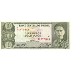 Bolivie - Pick 154a15 - 10 pesos bolivianos - Loi 1962 - Etat : SPL
