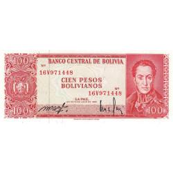 Bolivie - Pick 164A1 - 100 pesos bolivianos - Loi 1962 (1982) - Etat : NEUF