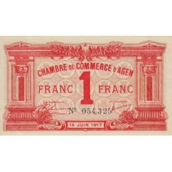Agen - Pirot 2-9 variété - 1 franc - 14/06/1917 - Etat : SUP+