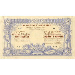 Inde Française - Pick A3S - 50 roupies - 1892 - Spécimen - Etat : SPL
