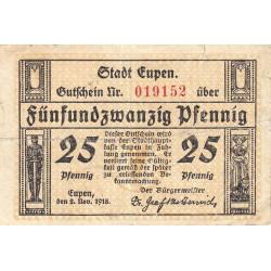 Belgique - Eupen - EU-NR - 25 pfennig - 02/11/1918 - Etat : TB-