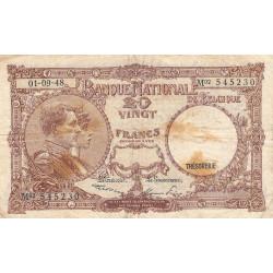 Belgique - Pick 116 - 20 francs - 1948 - Etat : B+