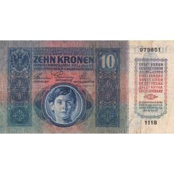 Autriche - Pick 19 - 10 kronen - 1915 - Etat : TB