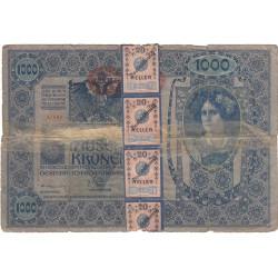 Autriche - Pick 61_2 - 1'000 kronen - 1919 - Avec timbres de 20 heller - Etat : AB