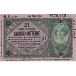 Autriche - Pick S152b - Loterie 1929 - Etat : NEUF