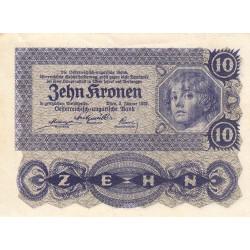 Autriche - Pick 75 - 10 kronen - 02/01/1922 - Etat : SUP+