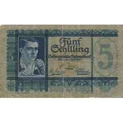 Autriche - Pick 93 - 5 shilling - 1927 - Etat : TB