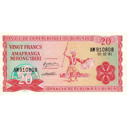 Burundi - Pick 27a_3 - 20 francs - 01/12/1981 - Etat : NEUF