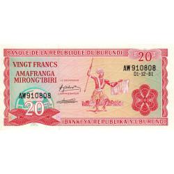 Burundi - Pick 27a_3 - 20 francs - Série AW - 01/12/1981 - Etat : NEUF