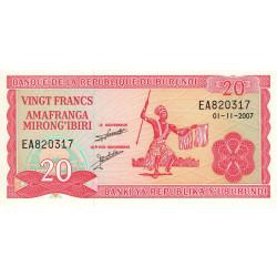 Burundi - Pick 27d_5 - 20 francs - 01/11/2007 - Etat : NEUF